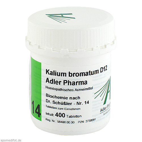 Biochemie Adler 14 Kalium Bromatum D12 Adler Pharm, 400 ST, Adler Pharma Produktion und Vertrieb GmbH