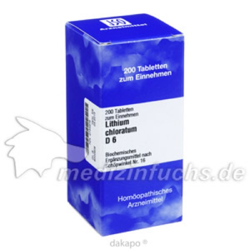 BIOCHEMIE 16 Lithium chloratum D 6 Tabletten, 200 ST, ISO-Arzneimittel GmbH & Co. KG