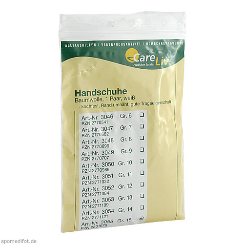Handschuhe Baumwolle Gr.15, 2 ST, Careliv Produkte Ohg