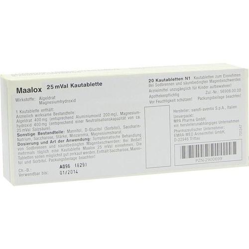 MAALOX 25 mVal, 20 ST, Emra-Med Arzneimittel GmbH