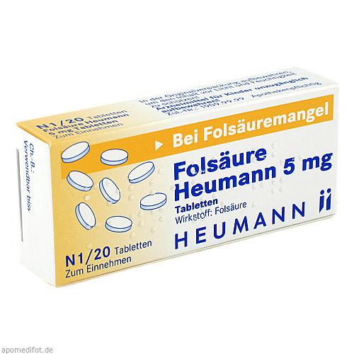 Folsäure Heumann 5mg Tabletten, 20 ST, Heumann Pharma GmbH & Co. Generica KG