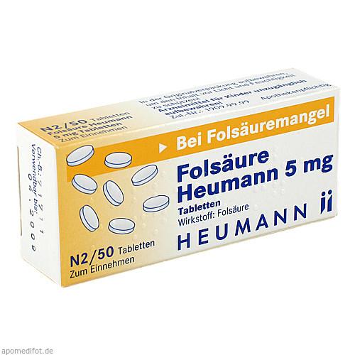 Folsäure Heumann 5mg Tabletten, 50 ST, Heumann Pharma GmbH & Co. Generica KG