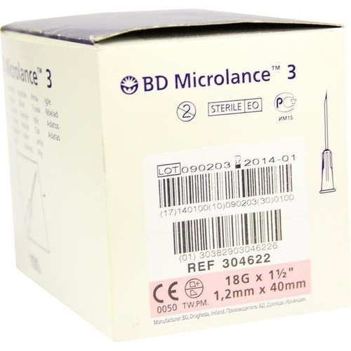 BD MICROLANCE 18G KAN 1 1/2, 100 ST, Becton Dickinson GmbH