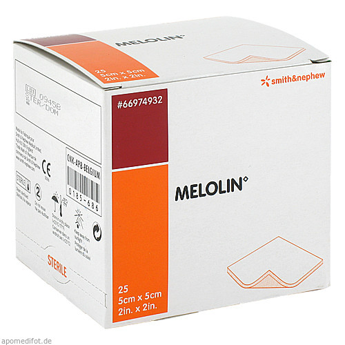 MELOLIN 5X5 WUNDAUFLAGE STERIL, 25 ST, Smith & Nephew GmbH