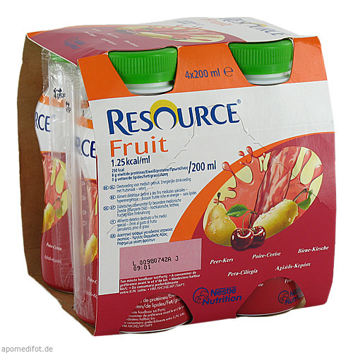 Resource Fruit Birne Kirsche, 4X200 ML, Ghd Direkt Ii GmbH Vertriebslinie Nestle