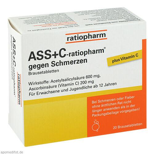 ASS + C-ratiopharm gegen Schmerzen, 20 ST, ratiopharm GmbH