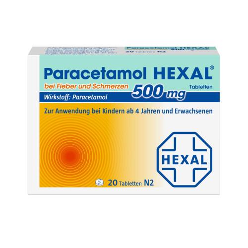Paracetamol 500mg Hexal bei Fieber und Schmerzen, 20 ST, HEXAL AG