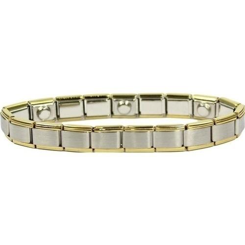 Magnet-Armband Edelstahl weiß/gelb 19cm P2, 1 ST, Gero GmbH