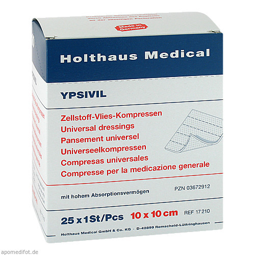 ZELLS VLIES STE YPSI 10X10, 25X1 ST, Holthaus Medical GmbH & Co. KG