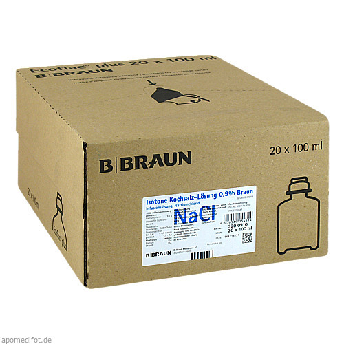 Isotone Kochsalz-Lösung 0.9% Braun Ecoflac plus, 20X100 ML, B. Braun Melsungen AG
