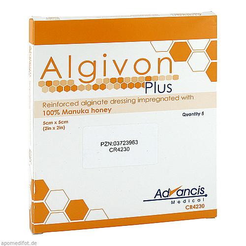 Algivon Plus Honigalginat 5x5cm, 5 ST, Advancis Medical Deutschland GmbH