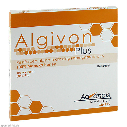Algivon Plus Honigalginat 10x10cm, 5 ST, Advancis Medical Deutschland GmbH