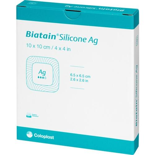 Biatain Silicone Ag Schaumverband 10x10cm, 5 ST, Coloplast GmbH