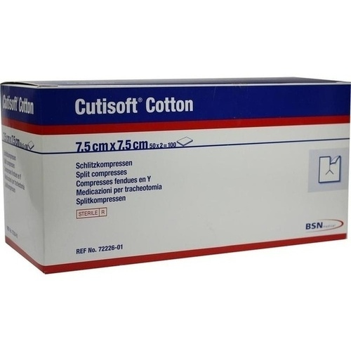 Cutisoft Cotton Schlitzkompressen steril 7.5x7.5cm, 50X2 ST, Bsn Medical GmbH