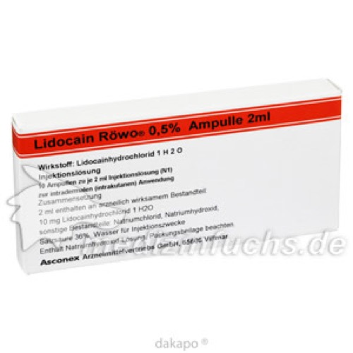 Lidocain Röwo 0.5% Ampulle 2 ml, 10X2 ML, Medphano Arzneimittel GmbH