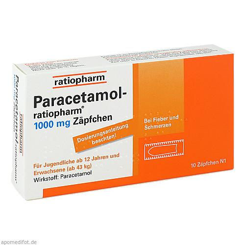 Paracetamol-ratiopharm 1000mg Zäpfchen, 10 ST, ratiopharm GmbH