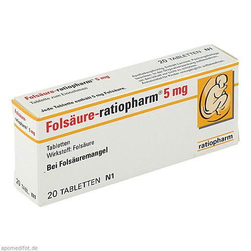 Folsäure-ratiopharm 5mg, 20 ST, ratiopharm GmbH