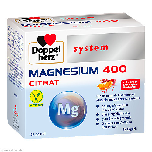 Doppelherz Magnesium 400 Citrat system, 20 ST, Queisser Pharma GmbH & Co. KG