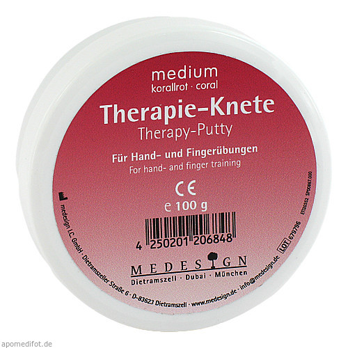 Therapie Knete Medium Korallrot, 100 G, Medesign I. C. GmbH