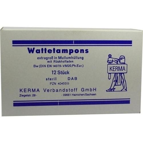 WATTETAMPONS EXTRAGROSS STERIL MULLUMHUELLUNG, 12 ST, Kerma Verbandstoff GmbH