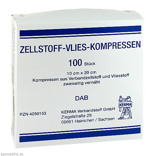 ZELLSTOFF VLIES-KOMPRESSEN 10CMX20CM UNSTERIL, 100 ST, Kerma Verbandstoff GmbH