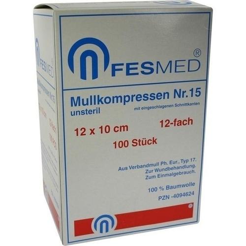 MULLKOMPRESSE GR15 UNSTERIL 10X12CM ES 12F, 100 ST, Fesmed Verbandmittel GmbH