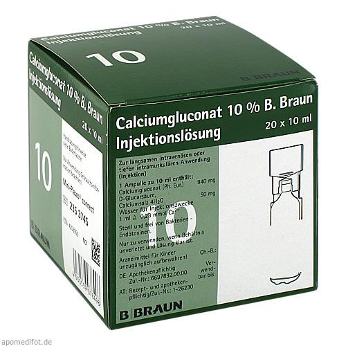 Calciumgluconat 10% MPC Injektionslösung, 20X10 ML, B. Braun Melsungen AG