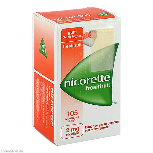 NICORETTE 2 mg freshfruit Kaugummi, 105 ST, EMRA-MED Arzneimittel GmbH