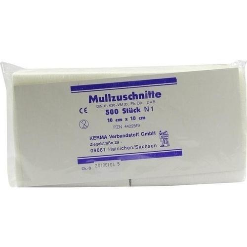 MULLZUSCHNITTE 10X10CM UNSTERIL, 500 ST, Kerma Verbandstoff GmbH