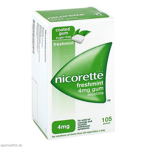 Nicorette 4mg Freshmint Kaugummi, 105 ST, Emra-Med Arzneimittel GmbH