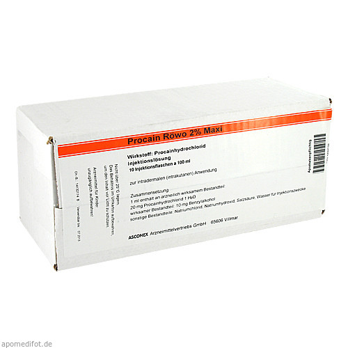 Procain Röwo 2% Maxi, 10X100 ML, Medphano Arzneimittel GmbH