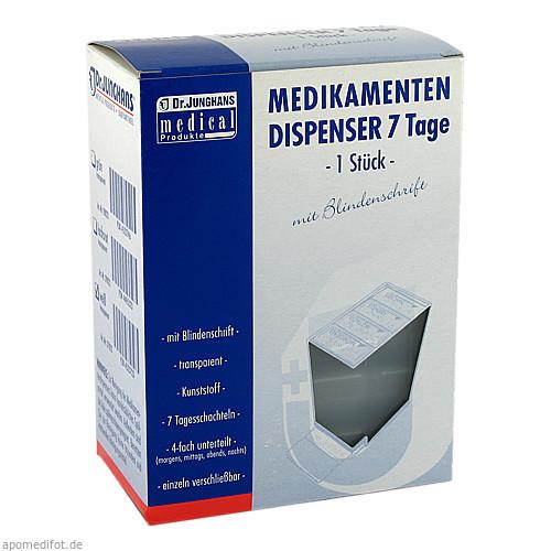 MEDIKAMENTENDISPENSER 7 Tage weiß transp m Blinden, 1 ST, Dr. Junghans Medical GmbH