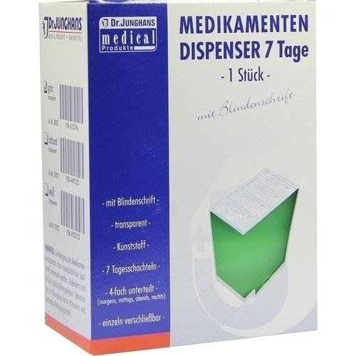 MEDIKAMENTENDISPENSER 7 Tage grün transp m Blinden, 1 ST, Dr. Junghans Medical GmbH