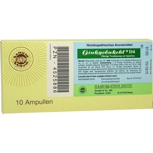 GINKGOBAKEHL D 4, 10X2 ML, Sanum-Kehlbeck GmbH & Co. KG