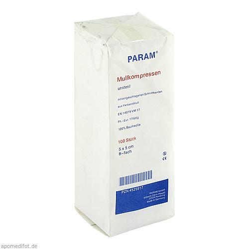 MULLKOMPRESSEN UNST 5X5 8F, 100 ST, Param GmbH