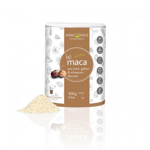 MACA 100% pur Bio Pulver, 500 G, AMAZONAS Naturprodukte Handels GmbH