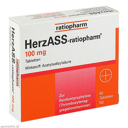 HERZASS ratiopharm 100 mg Tabletten, 50 ST, ratiopharm GmbH