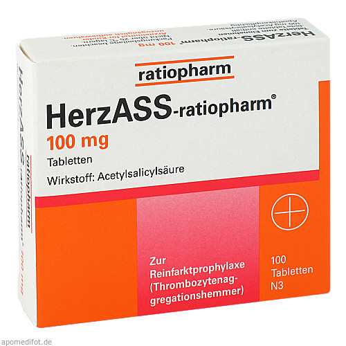 HerzASS-ratiopharm 100 mg, 100 ST, ratiopharm GmbH
