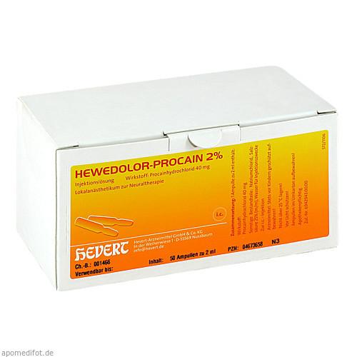HEWEDOLOR Procain 2% Ampullen, 50 ST, Hevert Arzneimittel GmbH & Co. KG