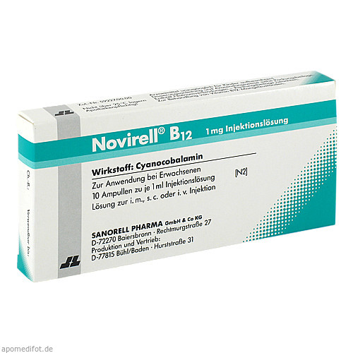 Novirell B12 1mg Injektionslösung, 10X1 ML, sanorell pharma GmbH & Co KG