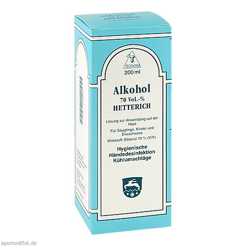 ALKOHOL 70 VOL % HETTERICH, 200 ML, Teofarma S.R.L.