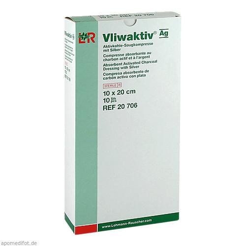 Vliwaktiv AG 10x20cm Aktivkohle Saugkompr.m.Silber, 10 ST, Lohmann & Rauscher GmbH & Co. KG