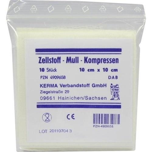ZELLSTOFF MULLKOMPRESSEN 10CMX10CM UNSTERIL, 10 ST, Kerma Verbandstoff GmbH