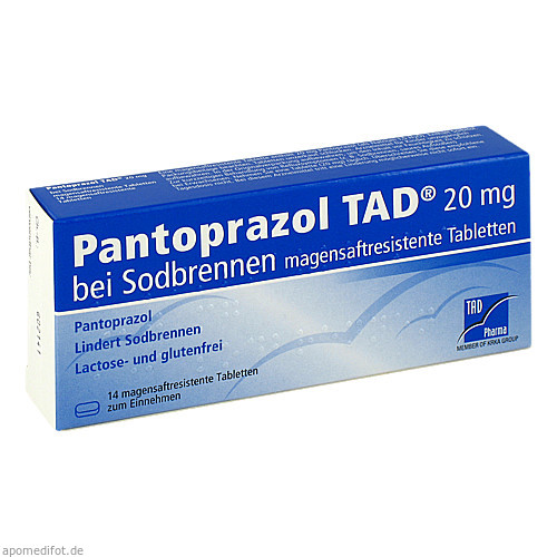 Pantoprazol TAD 20mg bei Sodbrennen, 14 ST, TAD Pharma GmbH