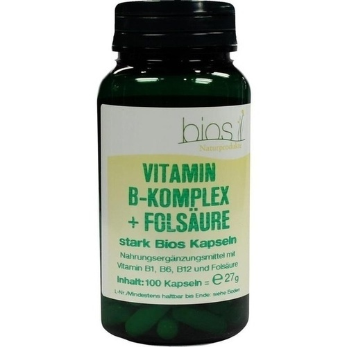 Vitamin B Komplex+Folsäure stark Bios Kapseln, 100 ST, Bios Medical Services