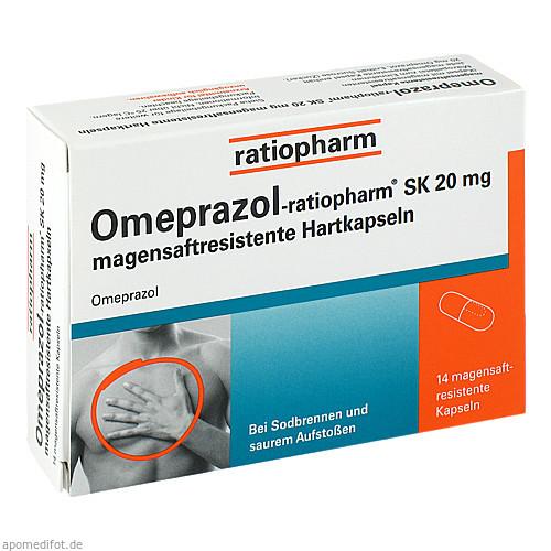 Omeprazol-ratiopharm SK 20mg magensaftres.Hartkap., 14 ST, ratiopharm GmbH