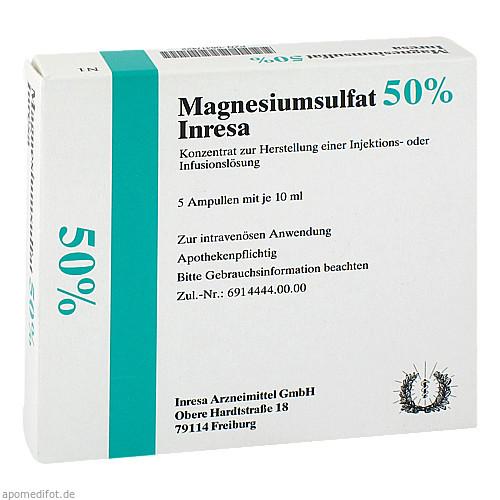 Magnesiumsulfat 50% Inresa, 5X10 ML, Inresa Arzneimittel GmbH