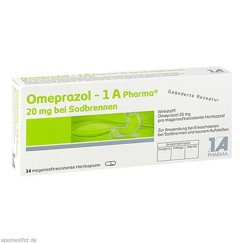 Omeprazol - 1 A Pharma 20mg bei Sodbrennen, 14 ST, 1 A Pharma GmbH