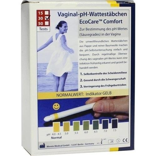 pH-EcoCare Comfort Vaginal pH Wattestäbchen, 30 ST, MERETE GmbH