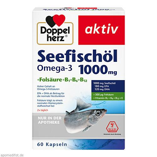 Doppelherz Seefischöl Omega-3 1000mg + Folsäure, 60 ST, Queisser Pharma GmbH & Co. KG